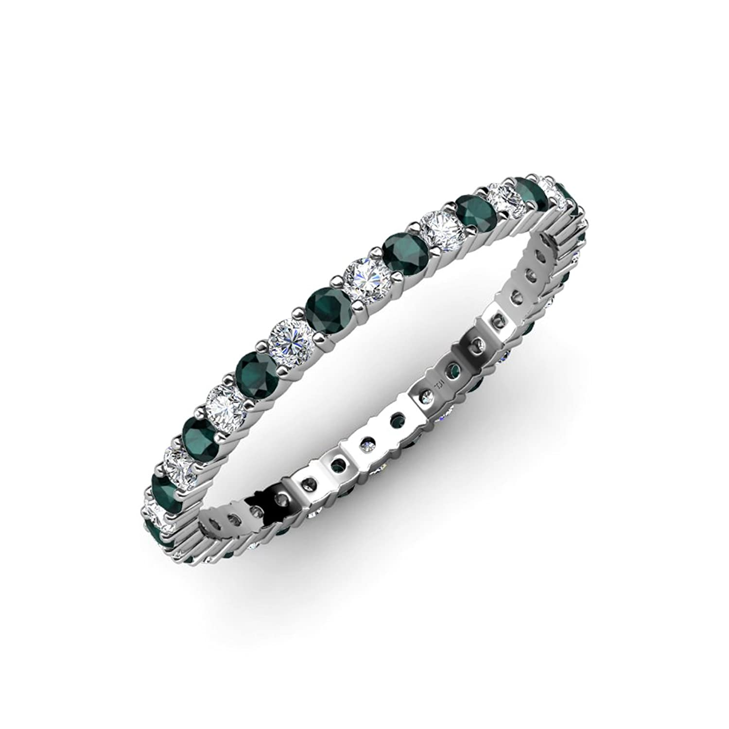 Emerald and Diamond Common Prong Eternity Band 0.75 ct tw to 0.96 ct tw in 14K White Gold