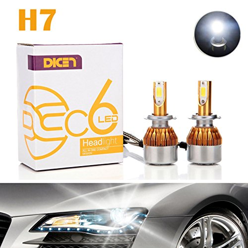 H7 LED Headlight Bulbs Conversion Kit 12000LM 120W 6000K Cool White Replace High Beam/Low Beam COB Chips Super Bright Headlamps - 2 Yr Warranty (Pair)