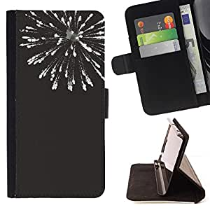 Momo Phone Case / Flip Funda de Cuero Case Cover - Noir Blanc Fireworks 4'Th - HTC One M8
