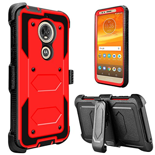 Moto E5 Play Case, Moto E5 Cruise Case, lovpec [Holster Series] Full Body Heavy Duty Shockproof Rugged Protective Case Cover with Kickstand and Belt Swivel Clip for Moto E Play (5th Gen) (Red)