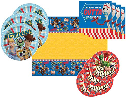 Toy Story 4 Party Supplies Tableware Pack for 16 Guests - Includes 16 Dinner Plates, 16 Dessert Plates, 16 Dinner Napkins, and 1 Tablecover, Bundle -