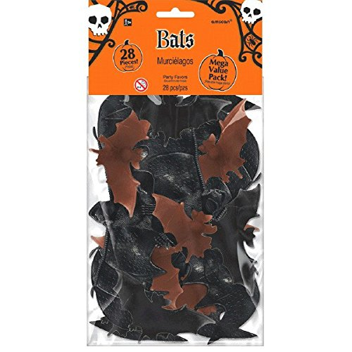 (Amscan Creepy Halloween Big Pack of Bats Party Favor (1 Piece), Black/Brown, 13