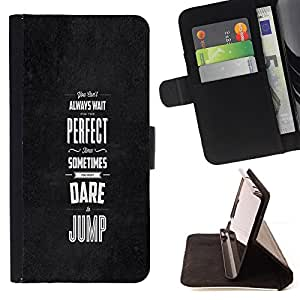 DEVIL CASE - FOR HTC One M9 - Black Grey Dare Inspiring Message Perfect - Style PU Leather Case Wallet Flip Stand Flap Closure Cover
