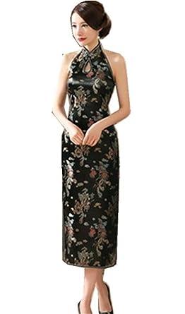 123880809765b (上海物語)Shanghai Story ホルターネック チャイナドレス レディース セクシー ワンピース チャイナ服 ロング 旗袍