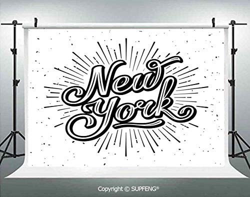 Background New York Typography Star Burst Calligraphy Hand Written Hipster Lettering Artwork 3D Backdrops for Interior Decoration Photo Studio Props