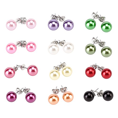 LEILE 12pairs colors Assorted Mixed Wholesale Lot Glass Pearl Earrings Studs Christmas Gift Set Stainless Steel Pin for Women Girl Kids (8mm Color02)