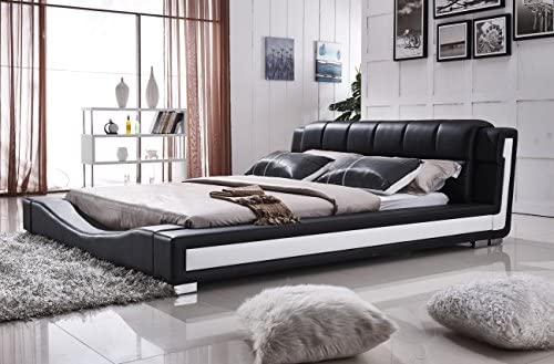 US Pride Furniture Bonded Leather Contemporary Platform Bed