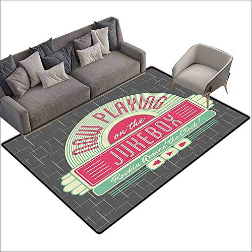Box Oriental Garden Music - Carpet for Living Room Jukebox,Charcoal Grey Backdrop with 50s Inspired Radio Music Box Image,Mint Green Hot Pink and White 36