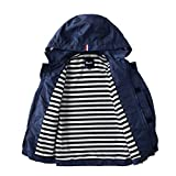 Hiheart Boys Waterproof Hooded Jackets Cotton Lined Rain Jackets Dark Navy 7/8