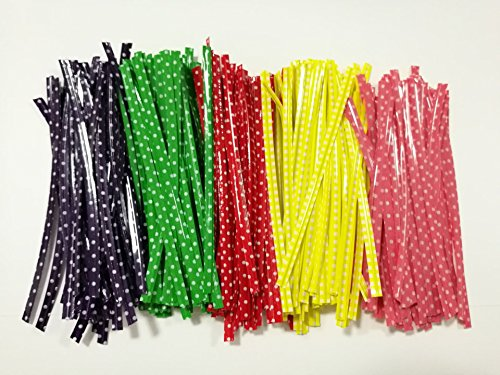 ttoyouu-500-pcs-339-polka-dot-packaging-twist-ties-for-candy-sweet-cookie-bread-bags-redgreen-purple
