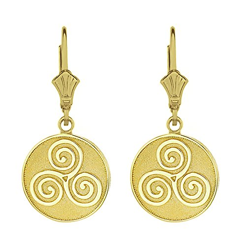 (Solid 10k Yellow Gold Celtic Triple Spiral Triskele Leverback Earrings)