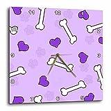 3dRose dpp_40952_3 Cute Purple Dog Bone Print Wall Clock, 15 x 15