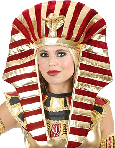 Gold and Burgundy Red Wine King TUT Pharaoh Egyptian Costume Headpiece Set 40 w ()
