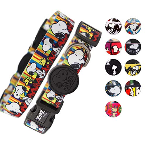 (Zoozpets Snoopy Dog Collar | Official Peanuts Dog Collars | 10 Bright Beautiful Designs with Four Sizes | Adjustable, Super-Safe, Stylish Dog Collars for Large Dogs & Small | Collar for Dogs )