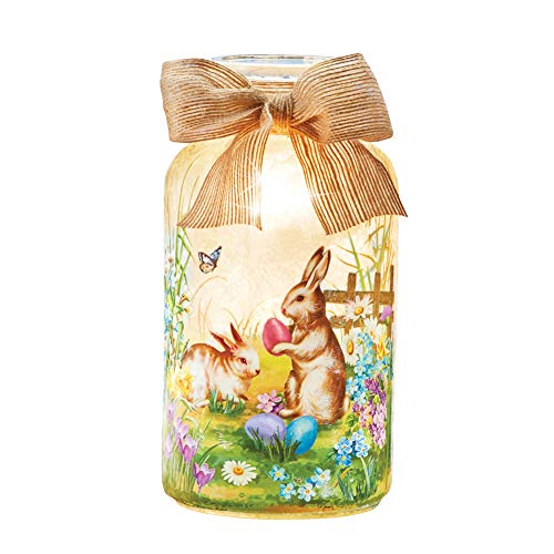 Collections Etc Easter Bunny Garden Scene Frosted Mason Jar Lamp with Burlap Bow - Lights Inside for Warm Glow from Collections Etc