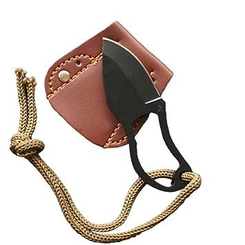 Xinlie Fixed Blade Navaja Pequeña Cuchillo de Dedo de acero Cuchillos de Supervivencia al Aire Libre Plegable Cuchillo de Bolsillo Gancho de Hoja Fija ...