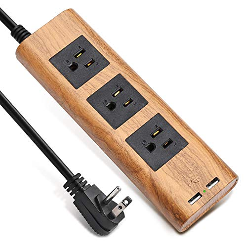 9.8ft Surge Protector Power Strip Wood Grain Desktop Charging Station Extension Cord 3 Outlet 2 USB Fire-Retardant with Fastening Cable Tie for iPhone iPad Computer Home Office SUPERDANNY (Wood Surge Protector)