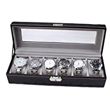 Deercon 6 Slots Watch Box Leather Display Case Organizer Top Glass Jewelry Collection Wooden Storage