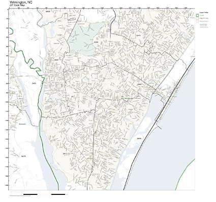 Amazon Com Zip Code Wall Map Of Wilmington Nc Zip Code Map Not