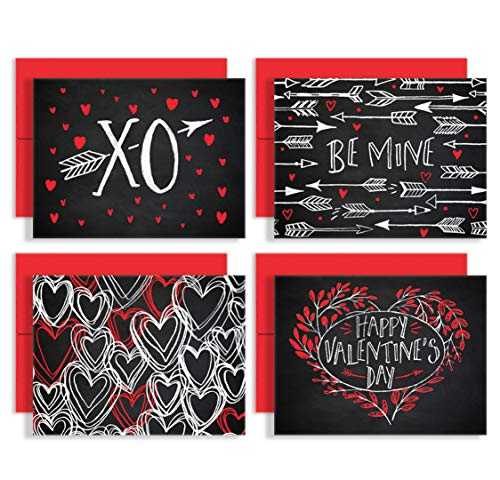 Chalk Art Love Notes - Set of 8 Premium Valentines Day Note Cards with Red Envelopes - 4 Unique Romantic Designs for Him or Her - Made in the USA By Palmer Street Press