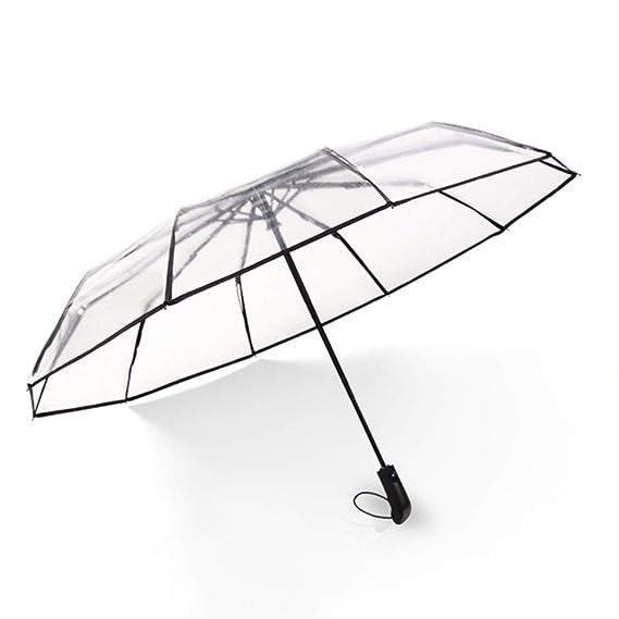 Paraguas Transparente - Paraguas Plegable automático para Hombres y Mujeres: Amazon.es: Hogar