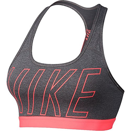 NIKE Women's Pro Classic Dri-Fit Compression Padded Logo Sports Bra (Carbon Heather/Dark Grey/Lava Glow, XS)