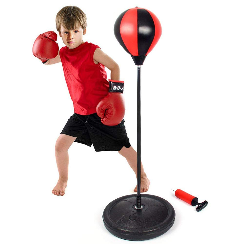 Eforoutdoor Punching bag with Boxing Gloves Speed Ball Adjustable Boxing Set with 1 Pair Gloves and Hand Air Pump Great Exercise Fun Activity for Kids and Adults Unisex Boxing Set