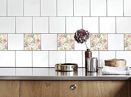 Adesivi per piastrelle cucina rose colorate dimensioni della