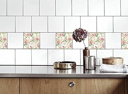 Adesivi per Piastrelle Cucina Rose Colorate Dimensioni della Pellicola del  Vinile per Le Dimensioni Differenti delle mattonelle della Parete del Bagno  ...