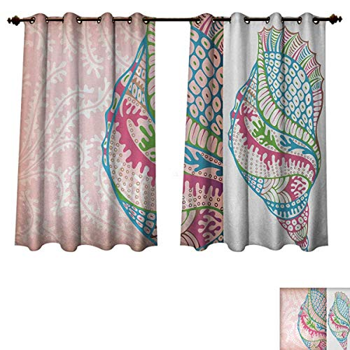 (Anzhouqux Seashells Blackout Thermal Backed Curtains for Living Room Ornate Colorful Seashells Illustration in Different Slides Vitality Theme Customized Curtains Pink Blue Green W55 x L72 inch)