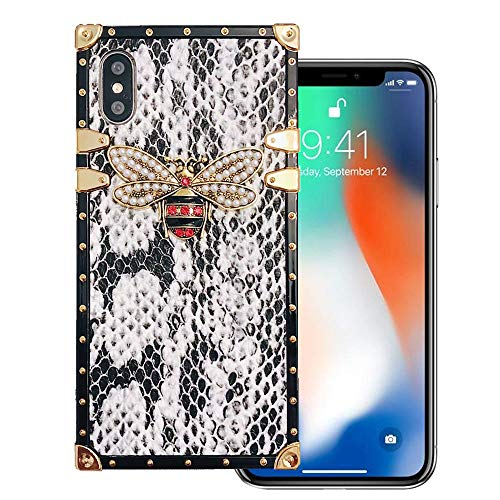 KAPADSON for iPhone Xs MAX 6.5 inch Newest Snake Skin Design TPU+ PU Leather Gold Square Corner Back Case Flexible Cover with Strap - White ()