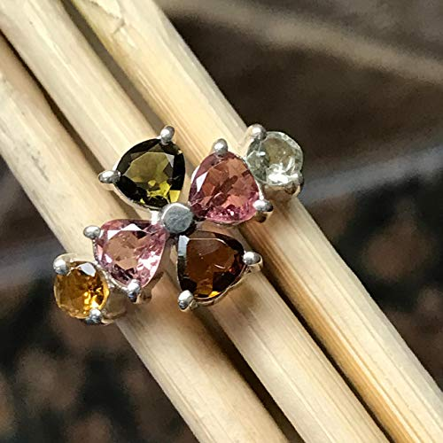 Natural 2.5ct Pink, Green, Orange, Brown Tourmaline 925 Solid Sterling Silver Band Ring sz 8 ()