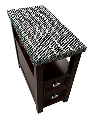 New Espresso / Cappuccino Finish Side End Table with Bottom Drawer with Star Wars Theme and Glass Table Top by The Furniture Cove