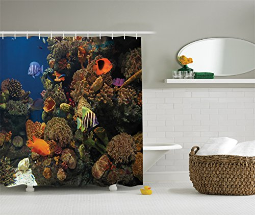 Ambesonne Ocean Decor Collection, Undersea Wildlife Environment Scene with Colorful Sponge Coral Reefs Tropical Fishes Picture, Polyester Fabric Shower Curtain, 75 Inches Long, Orange Blue Olive Green (Undersea Curtain Shower)