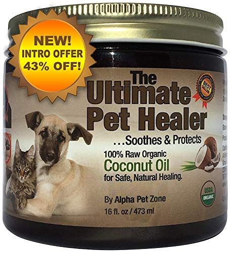 Alpha Pet Zone Coconut Oil for Dogs, Treatment for Itchy Skin, Dry Elbows, Paws and Nose (16 oz) ()