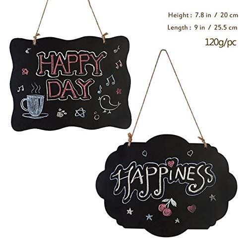 Chalkboard Sign Double-Sided Wedding Message Board with Hanging String - 2 Pack