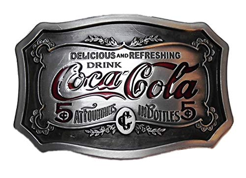 Coca Cola Classic Logo Pewter Finish Belt Buckle (Cola Buckle Belt Coca)
