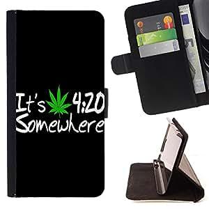 King Art - Premium-PU-Leder-Prima caja de la PU billetera de cuero con ranuras para tarjetas, efectivo Compartimiento desmontable y correa para la mu?eca FOR Samsung Galaxy S5 Mini SG870a, SM-G800- 420 Weed weed Marijuana Kush Weed