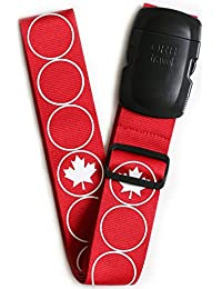 "ORB Travel Premium Designer Luggage Strap 2""x72""-LS240-RW-Maple Leaf-Red/White"