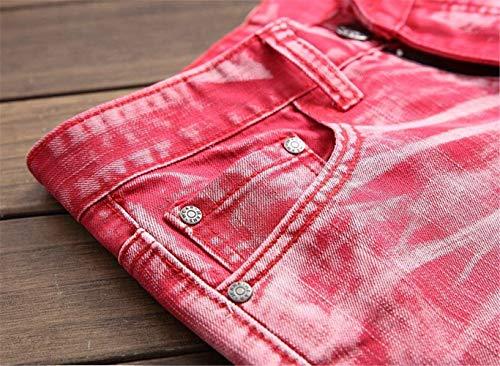 Denim Fit Jeans 5 Lavati Casual Rot Dritti Uomo Da In Colori Classici Ragazzo Pantaloni Slim Vintage PxTOq857