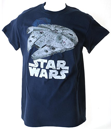 Star Wars Retro Millenium Falcon Death Star Adult Navy T-Shirt, X-Large