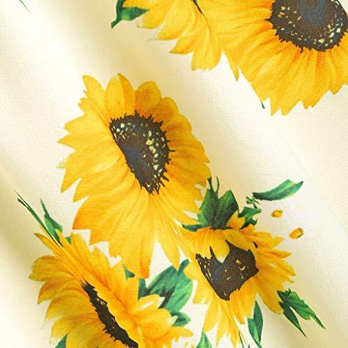 Myoumobi_ Women Fashion Sunflower Print Mini Dress Short Sleeve Bowknot Bandage Split Dress Bohemian Strap Swing Dress by Myoumobi_Dress (Image #3)