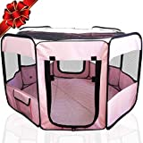 "ToysOpoly #1 Premium Pet Playpen – Large 45"" Indoor/Outdoor Cage. Best Exercise Kennel for Your Dog, Cat, Rabbit, Puppy, Hamster or Guinea Pig. Portable Fabric Pen for Easy Travel (Light Pink)"