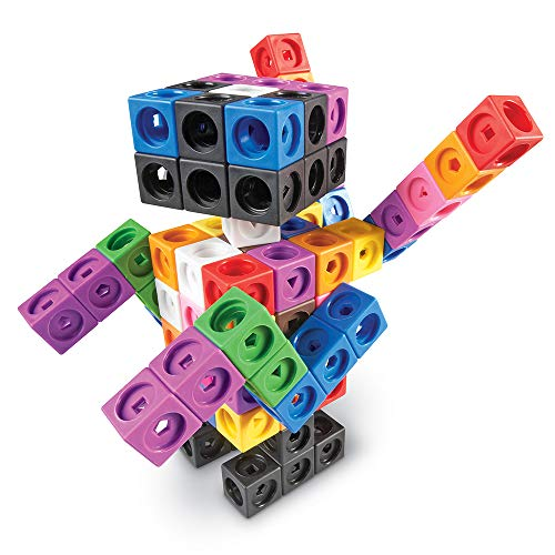 Snap Set Cubes - Learning Resources MathLink Cube Big Builders, Imaginative Play, Math Skills, Set of 200 Cubes, Ages 5+