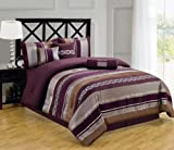 Claudia Purple Cal-King size Luxury 11 piece Bed-in-a-Bag inlcuding Comforter, sheets, skirt, Throw Pillows, Pillow Shams by Royal Hotel