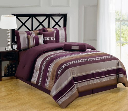 Claudia Purple Queen size Luxury 11 piece Bed-in-a-Bag inlcuding Comforter, sheets, skirt, Throw Pillows, Pillow Shams by Royal Hotel 11 Piece Queen Bed