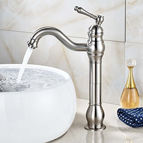 Rozin Deck Mount Bathroom Vessel Sink Faucet Single Lever Countertop Mixer Tap Brushed Nickel (Faucet Sink Top)
