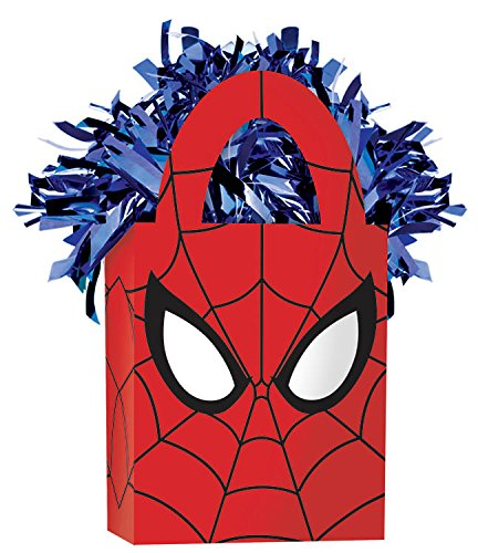 Amscan Boys Spider-Man Mini Tote Party Balloon Weight, 5.7 oz, Blue/Red