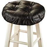 Collections Etc Foam-Padded Thick Waterproof Barstool Seat Cover Cushion with Slip Resistant Backing, Black