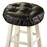 Bar Stool Covers Round Foam-Padded Thick Waterproof Barstool Seat Cover Cushion with Slip Resistant Backing, Black